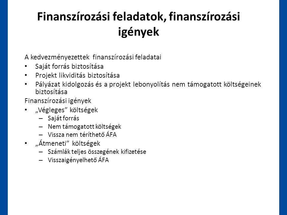 Finanszírozási feladatok, finanszírozási igények A kedvezményezettek finanszírozási feladatai • Saját forrás biztosítása • Projekt likviditás biztosít