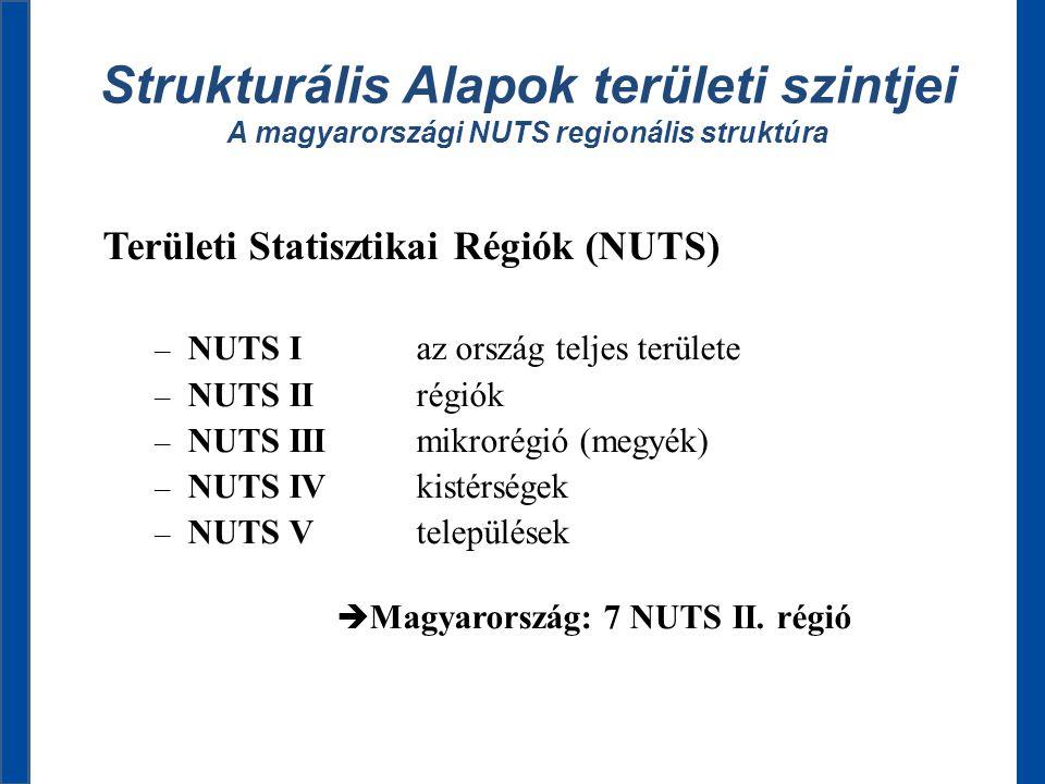 Strukturális Alapok területi szintjei A magyarországi NUTS regionális struktúra Területi Statisztikai Régiók (NUTS) – NUTS I az ország teljes területe