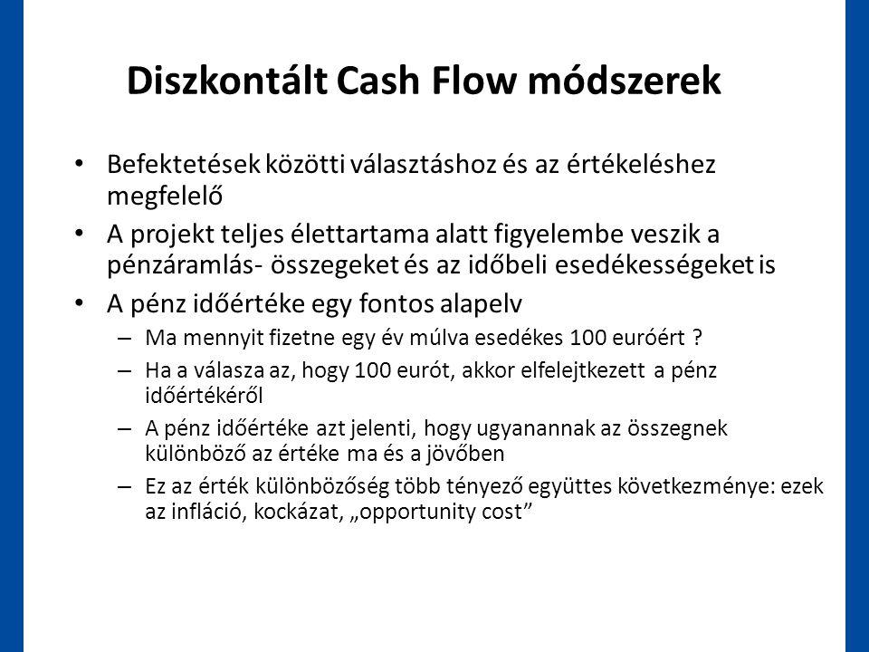Diszkontált Cash Flow módszerek • Befektetések közötti választáshoz és az értékeléshez megfelelő • A projekt teljes élettartama alatt figyelembe veszi