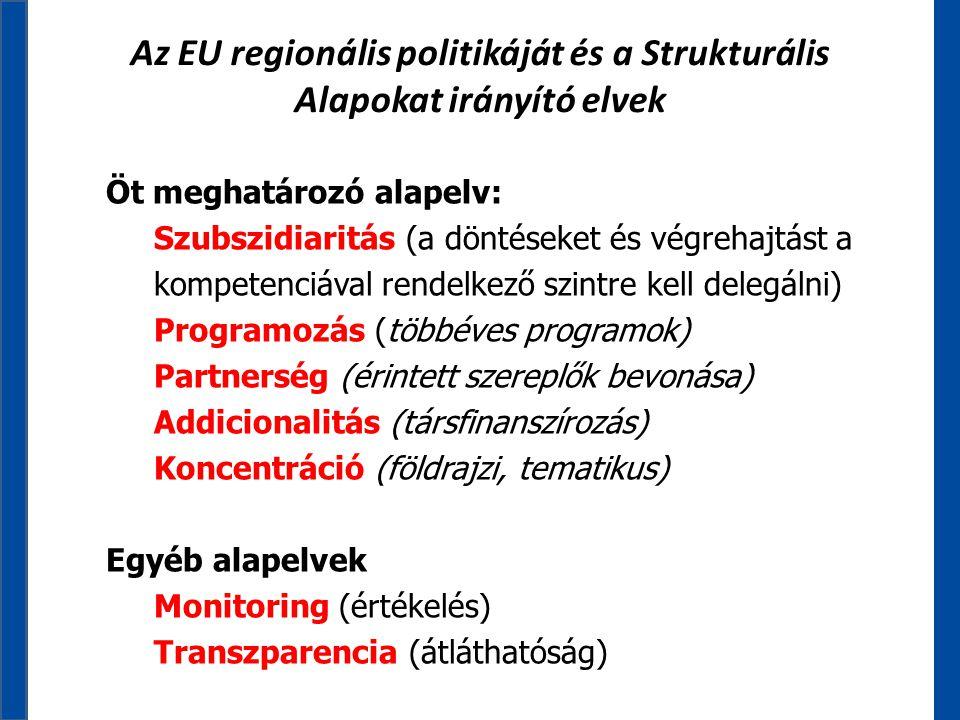 Az EU regionális politikáját és a Strukturális Alapokat irányító elvek Öt meghatározó alapelv: Szubszidiaritás (a döntéseket és végrehajtást a kompete