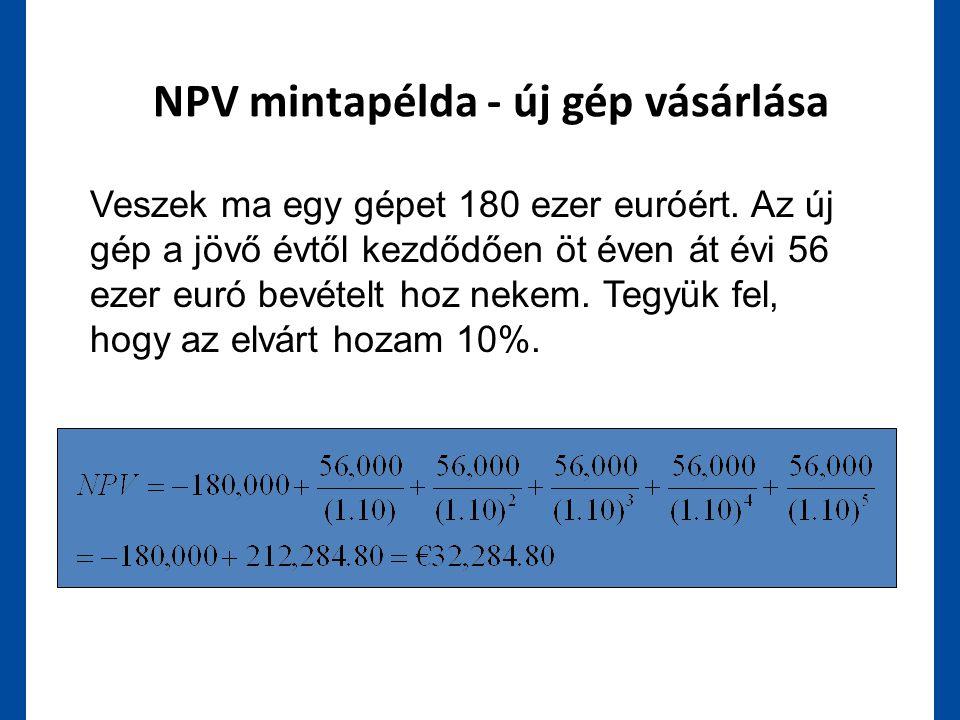 NPV mintapélda - új gép vásárlása Veszek ma egy gépet 180 ezer euróért. Az új gép a jövő évtől kezdődően öt éven át évi 56 ezer euró bevételt hoz neke
