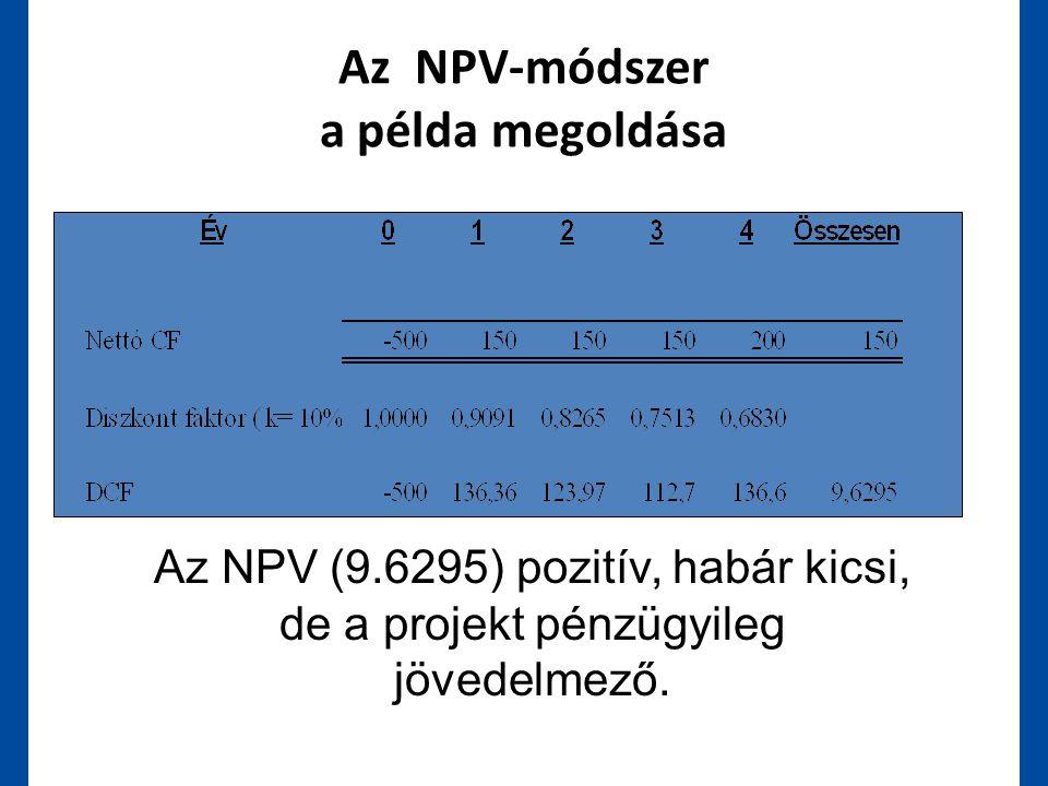 Az NPV-módszer a példa megoldása Az NPV (9.6295) pozitív, habár kicsi, de a projekt pénzügyileg jövedelmező.