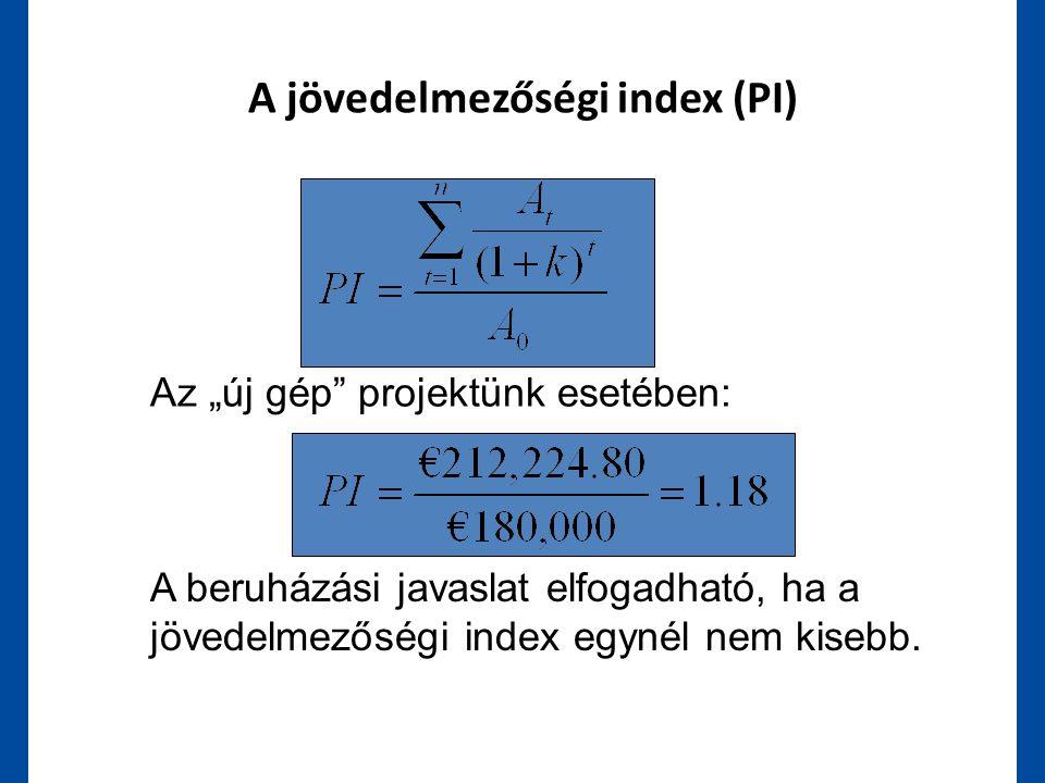 """A jövedelmezőségi index (PI) A beruházási javaslat elfogadható, ha a jövedelmezőségi index egynél nem kisebb. Az """"új gép"""" projektünk esetében:"""