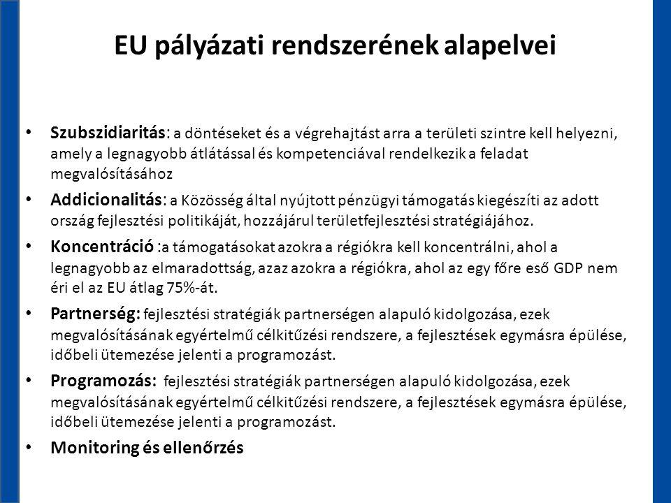EU pályázati rendszerének alapelvei • Szubszidiaritás: a döntéseket és a végrehajtást arra a területi szintre kell helyezni, amely a legnagyobb átlátá
