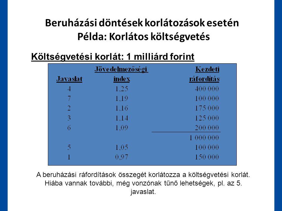 Beruházási döntések korlátozások esetén Példa: Korlátos költségvetés Költségvetési korlát: 1 milliárd forint A beruházási ráfordítások összegét korlát