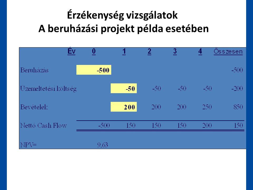 Érzékenység vizsgálatok A beruházási projekt példa esetében