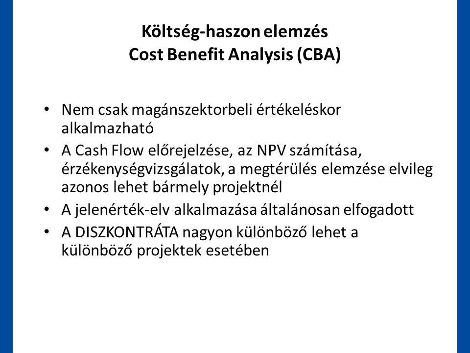 Költség-haszon elemzés Cost Benefit Analysis (CBA) • Nem csak magánszektorbeli értékeléskor alkalmazható • A Cash Flow előrejelzése, az NPV számítása,