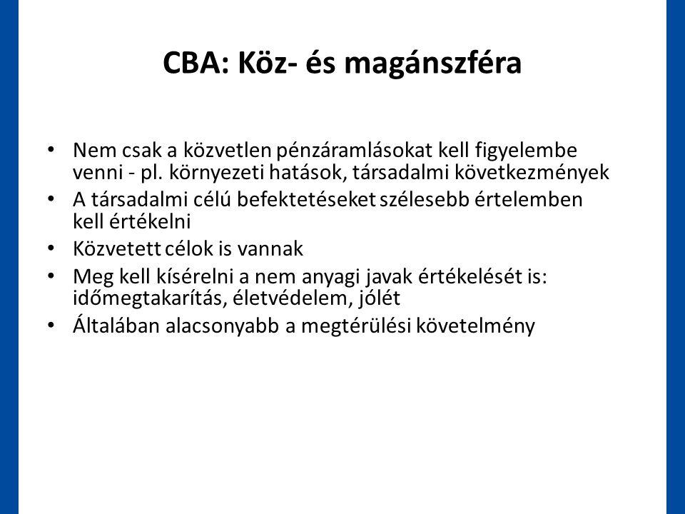 CBA: Köz- és magánszféra • Nem csak a közvetlen pénzáramlásokat kell figyelembe venni - pl. környezeti hatások, társadalmi következmények • A társadal