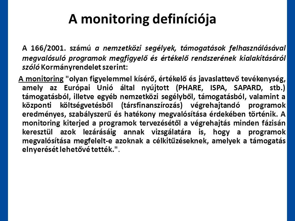 A monitoring definíciója A 166/2001. számú a nemzetközi segélyek, támogatások felhasználásával megvalósuló programok megfigyelő és értékelő rendszerén