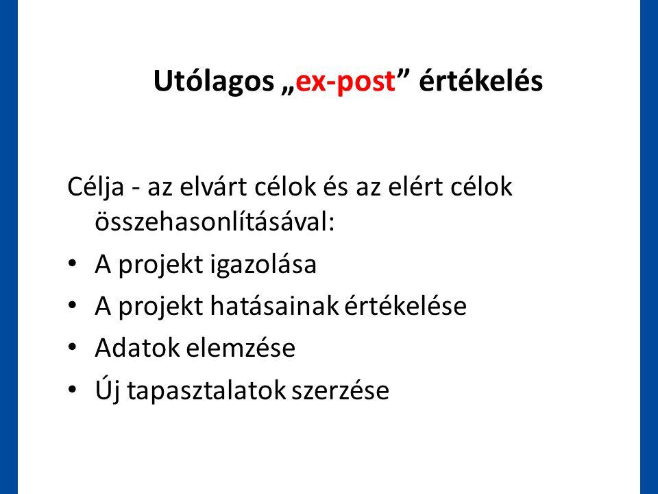 """Utólagos """"ex-post"""" értékelés Célja - az elvárt célok és az elért célok összehasonlításával: • A projekt igazolása • A projekt hatásainak értékelése •"""