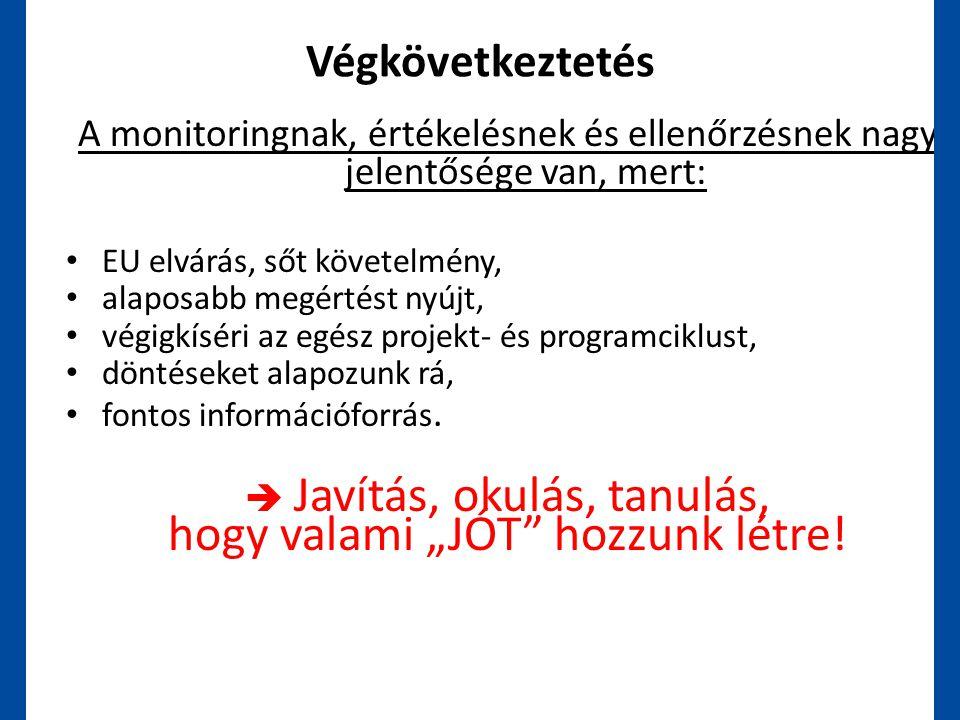 Végkövetkeztetés A monitoringnak, értékelésnek és ellenőrzésnek nagy jelentősége van, mert: • EU elvárás, sőt követelmény, • alaposabb megértést nyújt