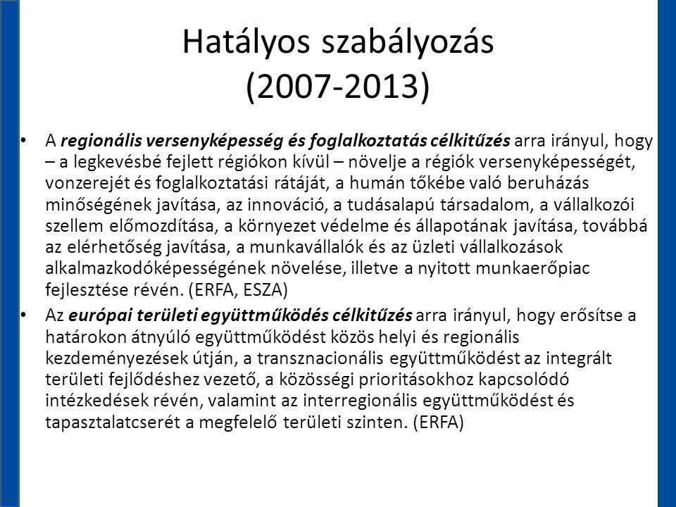 Hatályos szabályozás (2007-2013) • A regionális versenyképesség és foglalkoztatás célkitűzés arra irányul, hogy – a legkevésbé fejlett régiókon kívül