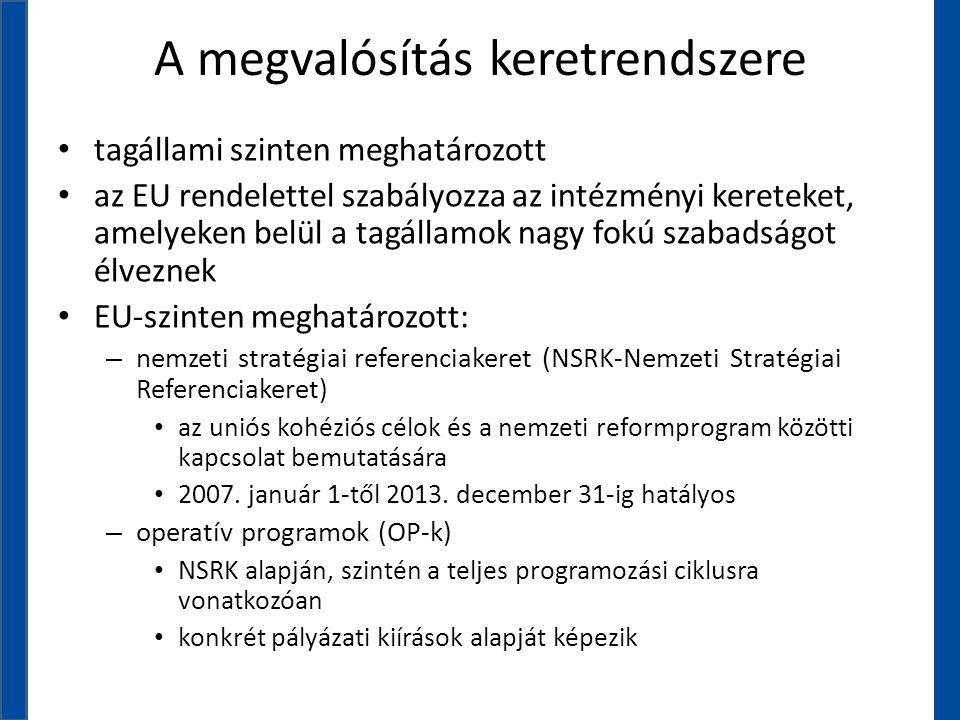 A megvalósítás keretrendszere • tagállami szinten meghatározott • az EU rendelettel szabályozza az intézményi kereteket, amelyeken belül a tagállamok