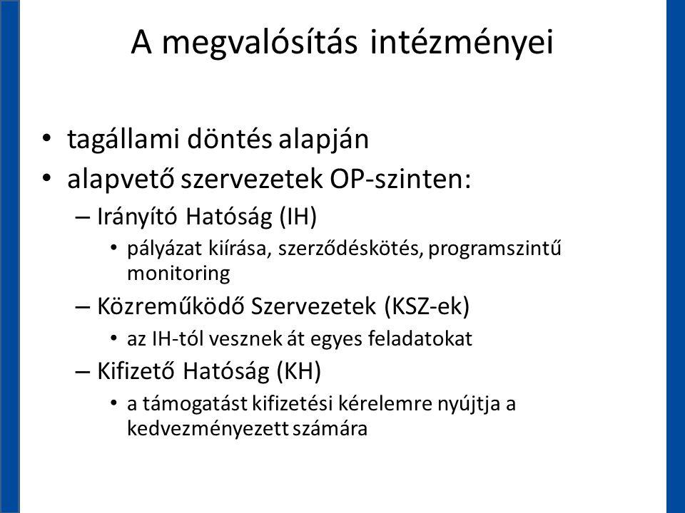 A megvalósítás intézményei • tagállami döntés alapján • alapvető szervezetek OP-szinten: – Irányító Hatóság (IH) • pályázat kiírása, szerződéskötés, p