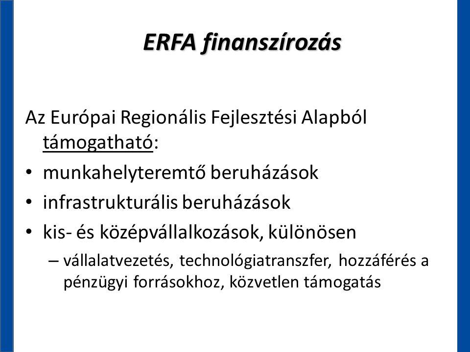 ERFA finanszírozás Az Európai Regionális Fejlesztési Alapból támogatható: • munkahelyteremtő beruházások • infrastrukturális beruházások • kis- és köz