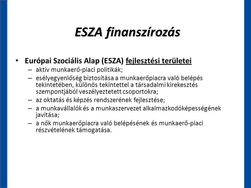 ESZA finanszírozás • Európai Szociális Alap (ESZA) fejlesztési területei – aktív munkaerő-piaci politikák; – esélyegyenlőség biztosítása a munkaerőpia