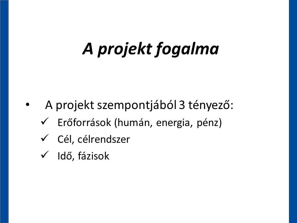 A projekt fogalma • A projekt szempontjából 3 tényező:  Erőforrások (humán, energia, pénz)  Cél, célrendszer  Idő, fázisok