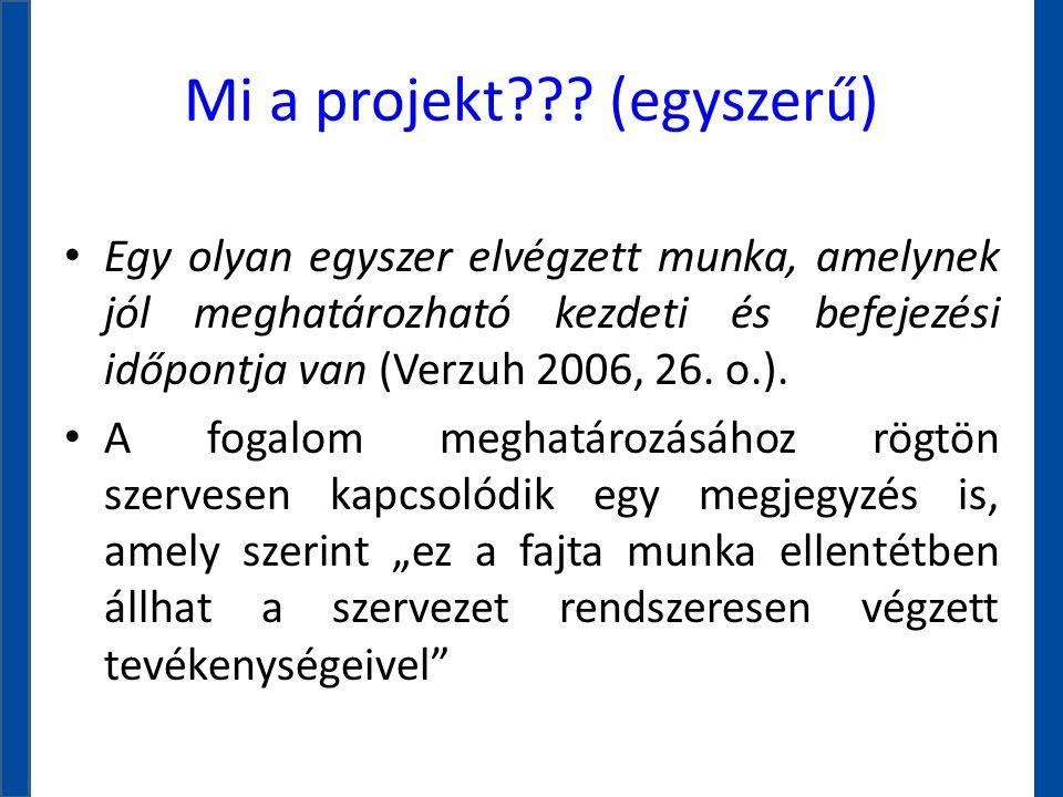Mi a projekt??? (egyszerű) • Egy olyan egyszer elvégzett munka, amelynek jól meghatározható kezdeti és befejezési időpontja van (Verzuh 2006, 26. o.).