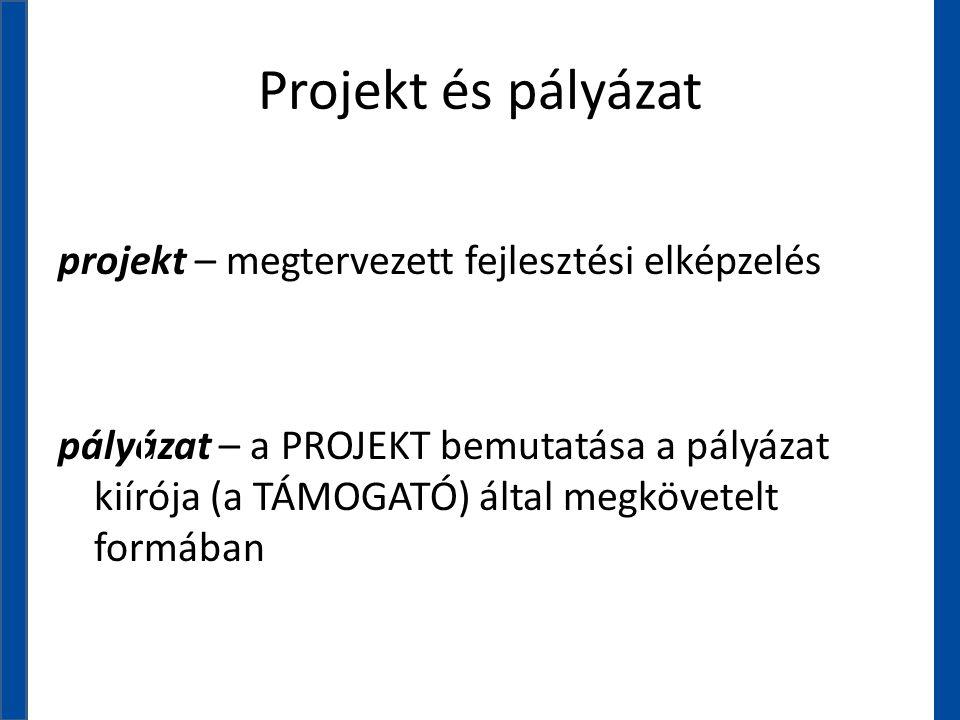 Projekt és pályázat projekt – megtervezett fejlesztési elképzelés pályázat – a PROJEKT bemutatása a pályázat kiírója (a TÁMOGATÓ) által megkövetelt fo