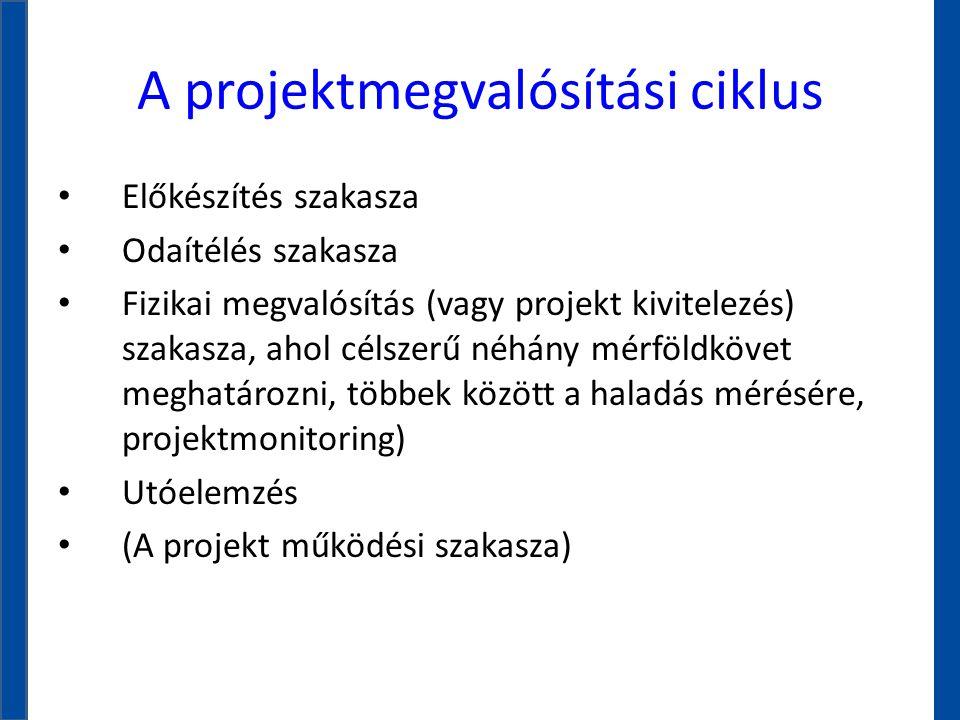 A projektmegvalósítási ciklus • Előkészítés szakasza • Odaítélés szakasza • Fizikai megvalósítás (vagy projekt kivitelezés) szakasza, ahol célszerű né