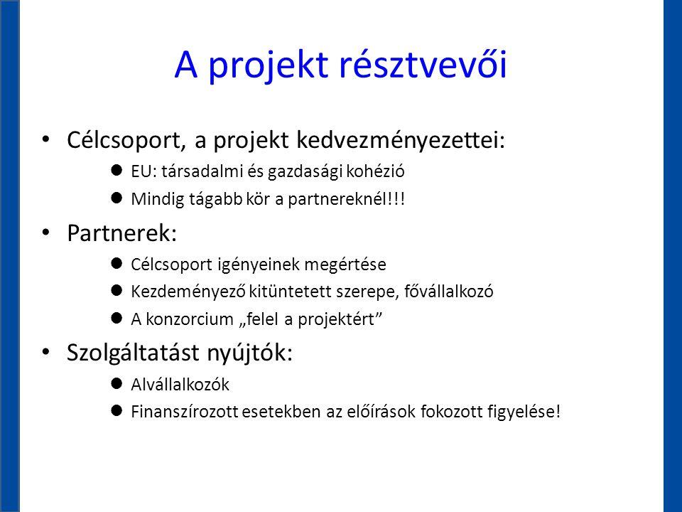 A projekt résztvevői • Célcsoport, a projekt kedvezményezettei: l EU: társadalmi és gazdasági kohézió l Mindig tágabb kör a partnereknél!!! • Partnere