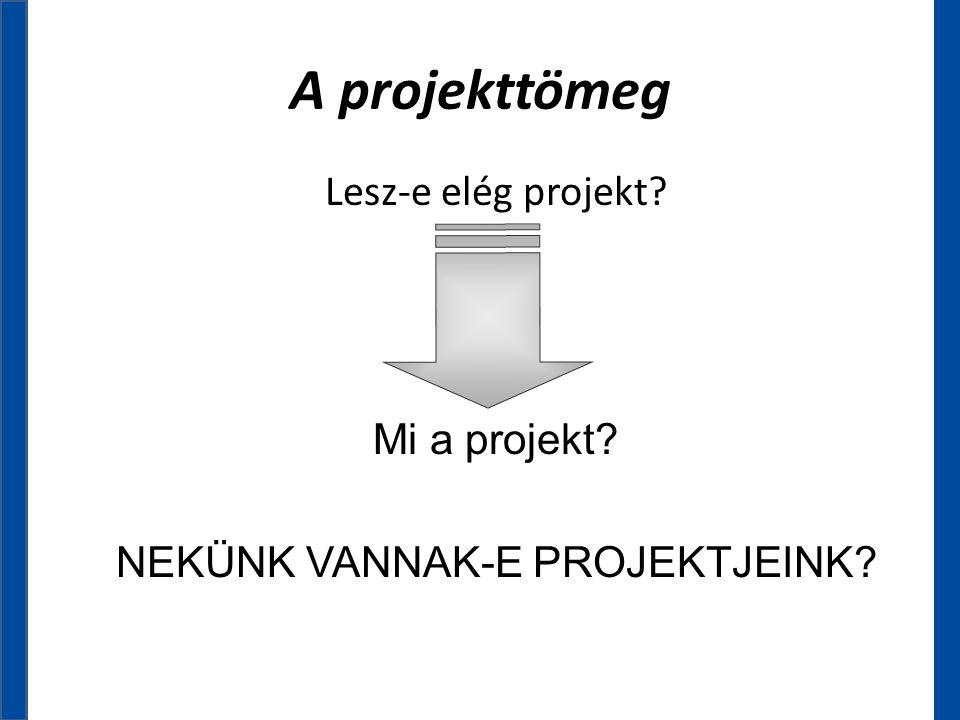 A projekttömeg Lesz-e elég projekt? Mi a projekt? NEKÜNK VANNAK-E PROJEKTJEINK?