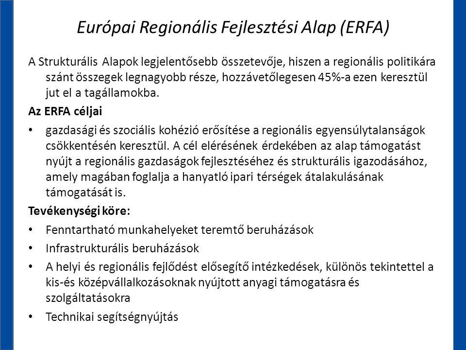Európai Regionális Fejlesztési Alap (ERFA) A Strukturális Alapok legjelentősebb összetevője, hiszen a regionális politikára szánt összegek legnagyobb