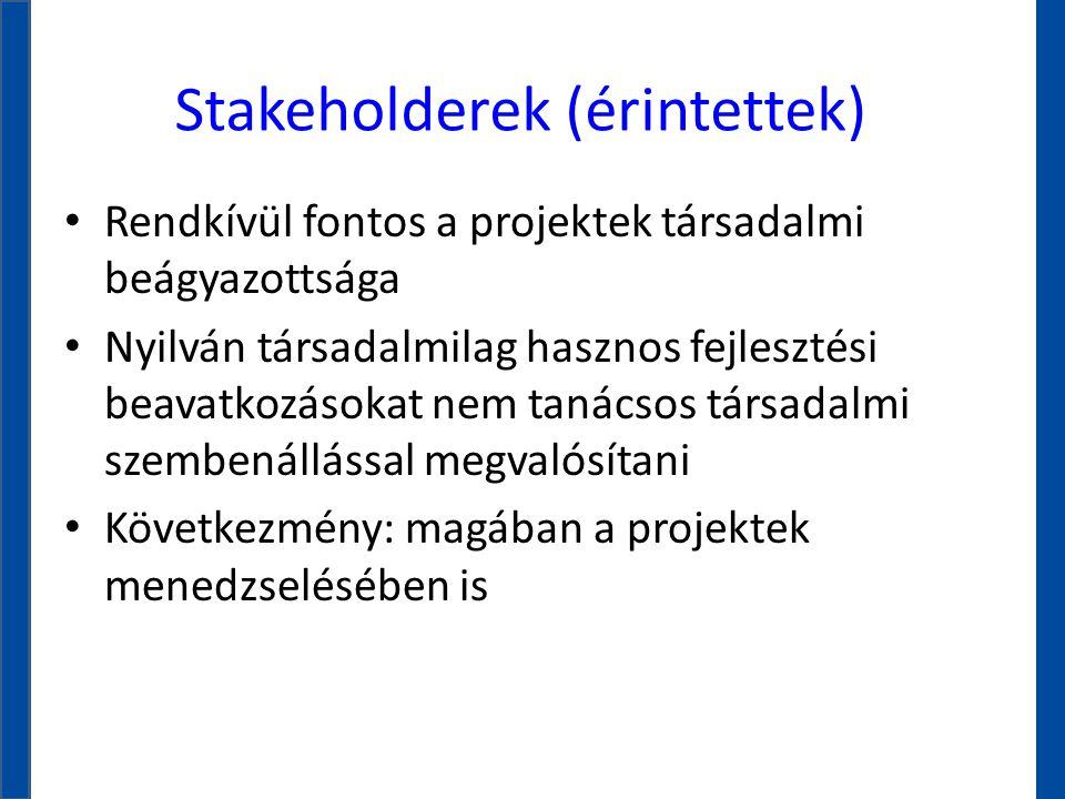 Stakeholderek (érintettek) • Rendkívül fontos a projektek társadalmi beágyazottsága • Nyilván társadalmilag hasznos fejlesztési beavatkozásokat nem ta