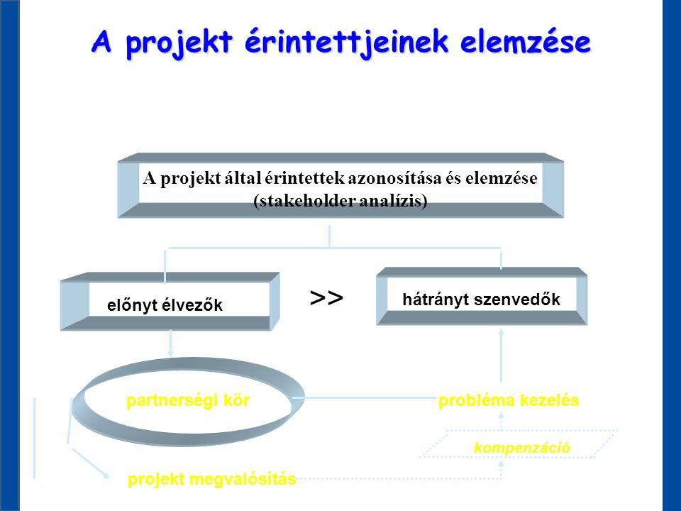 A projekt által érintettek azonosítása és elemzése (stakeholder analízis) hátrányt szenvedők előnyt élvezők probléma kezelés partnerségi kör projekt m