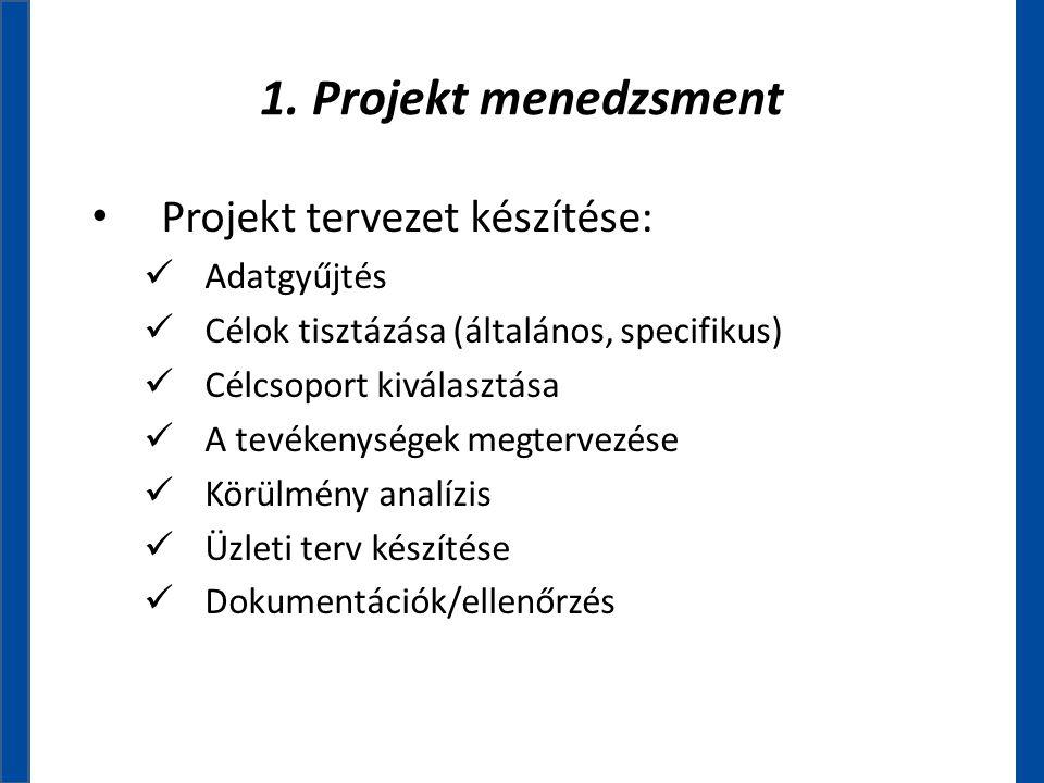 1. Projekt menedzsment • Projekt tervezet készítése:  Adatgyűjtés  Célok tisztázása (általános, specifikus)  Célcsoport kiválasztása  A tevékenysé