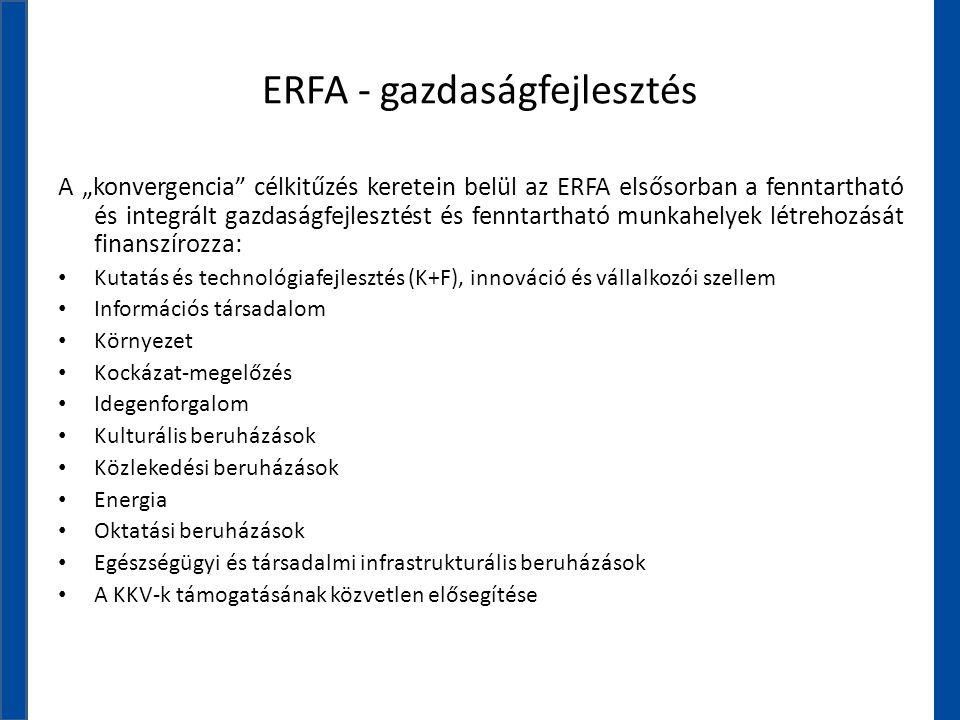 """ERFA - gazdaságfejlesztés A """"konvergencia"""" célkitűzés keretein belül az ERFA elsősorban a fenntartható és integrált gazdaságfejlesztést és fenntarthat"""