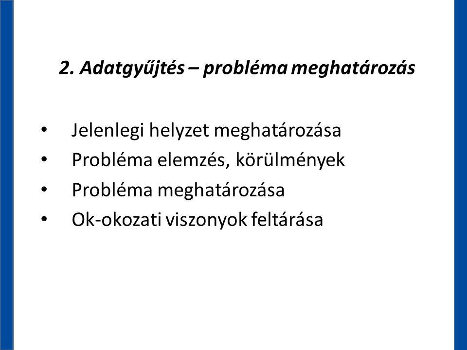 2. Adatgyűjtés – probléma meghatározás • Jelenlegi helyzet meghatározása • Probléma elemzés, körülmények • Probléma meghatározása • Ok-okozati viszony