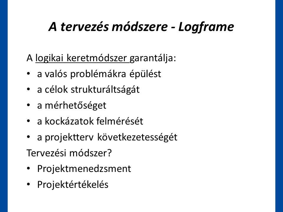 A tervezés módszere - Logframe A logikai keretmódszer garantálja: • a valós problémákra épülést • a célok strukturáltságát • a mérhetőséget • a kockáz