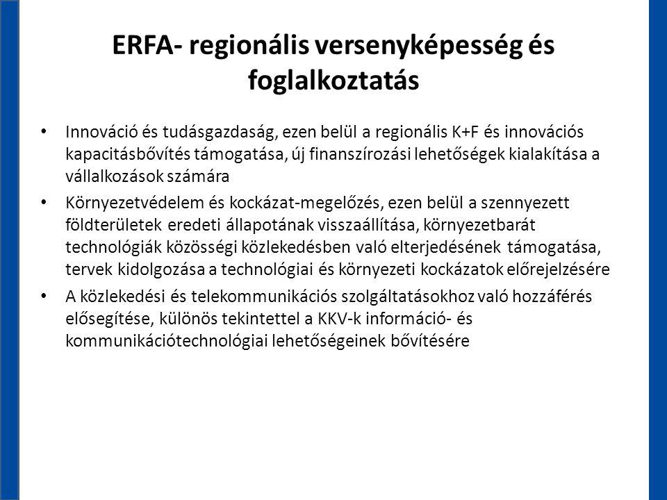 ERFA- regionális versenyképesség és foglalkoztatás • Innováció és tudásgazdaság, ezen belül a regionális K+F és innovációs kapacitásbővítés támogatása