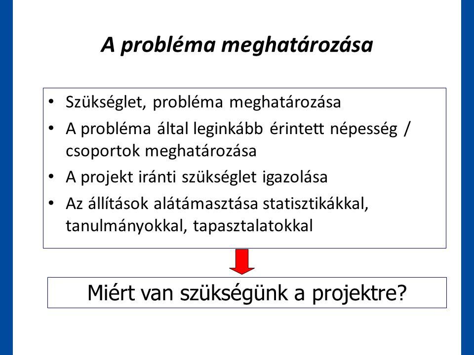 A probléma meghatározása • Szükséglet, probléma meghatározása • A probléma által leginkább érintett népesség / csoportok meghatározása • A projekt irá