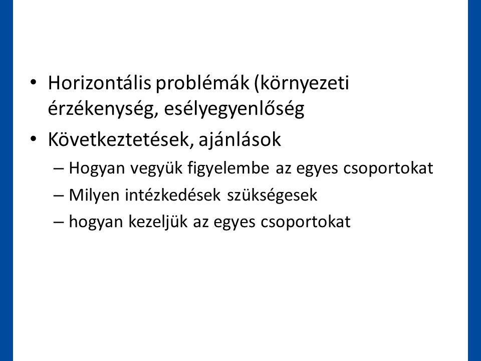 • Horizontális problémák (környezeti érzékenység, esélyegyenlőség • Következtetések, ajánlások – Hogyan vegyük figyelembe az egyes csoportokat – Milye