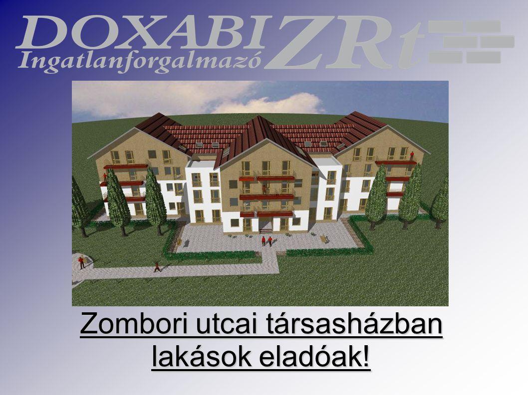 A földszinti lakások  Az első lakás 1+1/2 szobás, alapterülete: 38,03 m2.