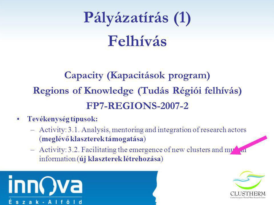 Felhívás Capacity (Kapacitások program) Regions of Knowledge (Tudás Régiói felhívás) FP7-REGIONS-2007-2 •Tevékenység típusok: –Activity: 3.1.