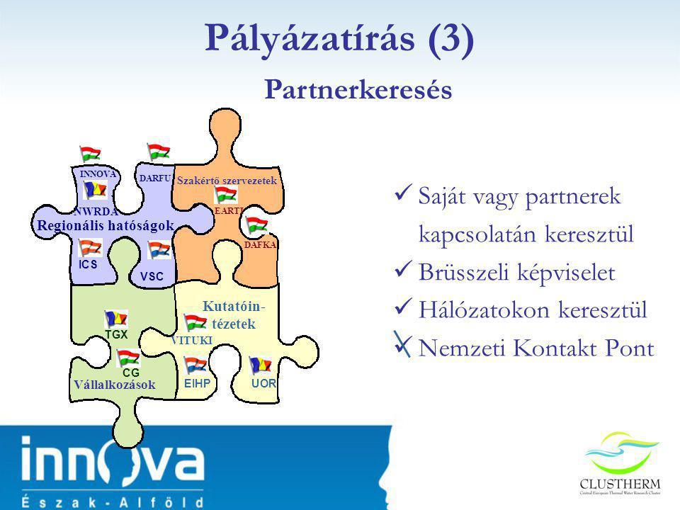  Saját vagy partnerek kapcsolatán keresztül  Brüsszeli képviselet  Hálózatokon keresztül  Nemzeti Kontakt Pont Pályázatírás (3) Vállalkozások Kutatóin- tézetek Regionális hatóságok Szakértő szervezetek INNOVA ICS DARFU NWRDA VSC VITUKI UOREIHP CG TGX EARTI DAFKA Partnerkeresés