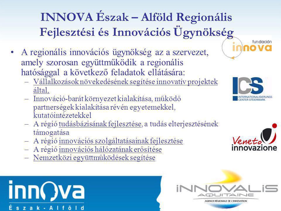 •A regionális innovációs ügynökség az a szervezet, amely szorosan együttműködik a regionális hatósággal a következő feladatok ellátására: –Vállalkozások növekedésének segítése innovatív projektek által, –Innováció-barát környezet kialakítása, működő partnerségek kialakítása révén egyetemekkel, kutatóintézetekkel –A régió tudásbázisának fejlesztése, a tudás elterjesztésének támogatása –A régió innovációs szolgáltatásainak fejlesztése –A régió innovációs hálózatának erősítése –Nemzetközi együttműködések segítése INNOVA Észak – Alföld Regionális Fejlesztési és Innovációs Ügynökség