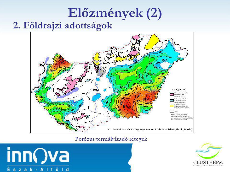 Előzmények (2) 2. Földrajzi adottságok Porózus termálvízadó rétegek