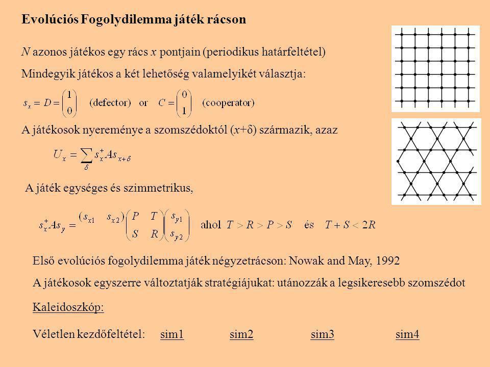 Evolúciós Fogolydilemma játék rácson N azonos játékos egy rács x pontjain (periodikus határfeltétel) Mindegyik játékos a két lehetőség valamelyikét választja: A játékosok nyereménye a szomszédoktól (x+δ) származik, azaz A játék egységes és szimmetrikus, Első evolúciós fogolydilemma játék négyzetrácson: Nowak and May, 1992 A játékosok egyszerre változtatják stratégiájukat: utánozzák a legsikeresebb szomszédot Kaleidoszkóp: Véletlen kezdőfeltétel:sim1sim2sim3sim4