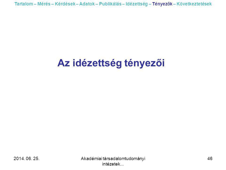 2014. 06. 25.Akadémiai társadalomtudományi intézetek... 46 Az idézettség tényezői Tartalom – Mérés – Kérdések – Adatok – Publikálás – Idézettség – Tén