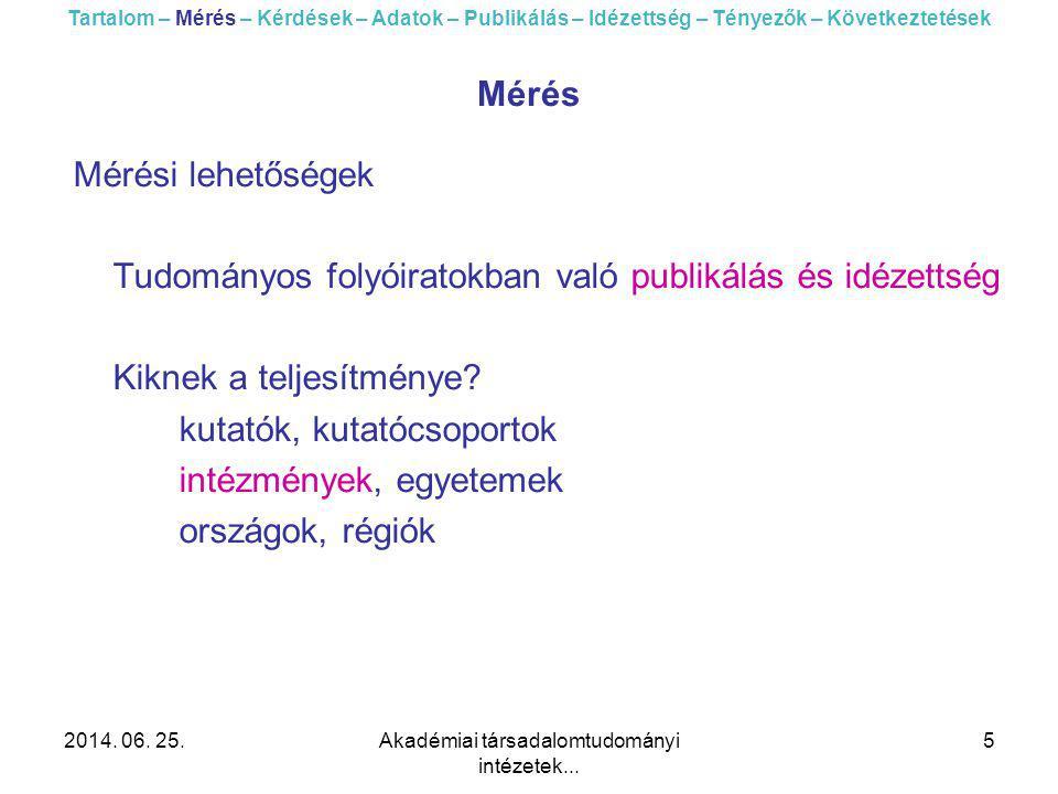 2014. 06. 25.Akadémiai társadalomtudományi intézetek... 5 Mérési lehetőségek Tudományos folyóiratokban való publikálás és idézettség Kiknek a teljesít