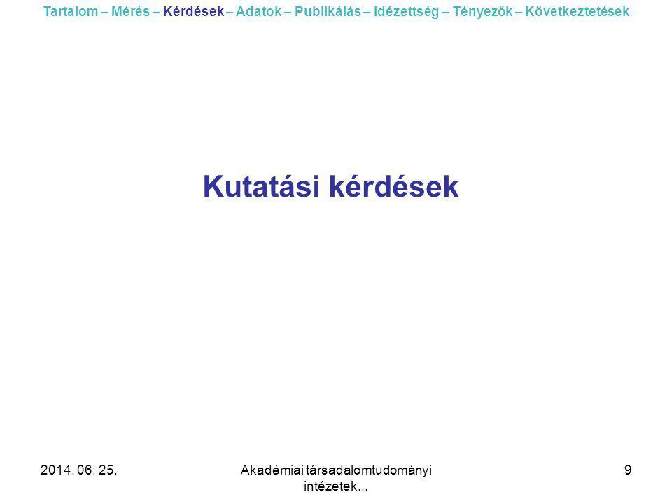 2014. 06. 25.Akadémiai társadalomtudományi intézetek... 9 Kutatási kérdések Tartalom – Mérés – Kérdések – Adatok – Publikálás – Idézettség – Tényezők