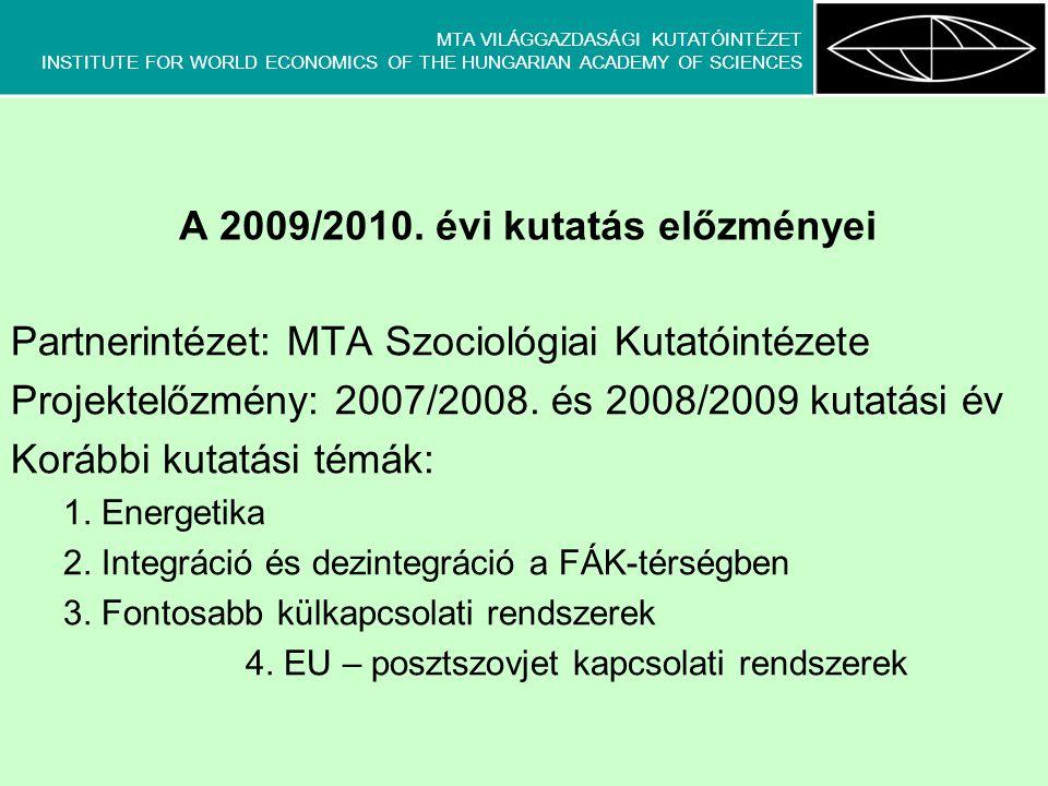 MTA VILÁGGAZDASÁGI KUTATÓINTÉZET INSTITUTE FOR WORLD ECONOMICS OF THE HUNGARIAN ACADEMY OF SCIENCES Partnerintézet: MTA Szociológiai Kutatóintézete Projektelőzmény: 2007/2008.