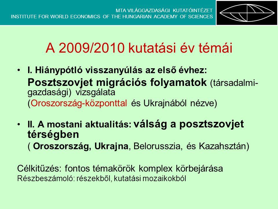 MTA VILÁGGAZDASÁGI KUTATÓINTÉZET INSTITUTE FOR WORLD ECONOMICS OF THE HUNGARIAN ACADEMY OF SCIENCES A 2009/2010 kutatási év témái •I.