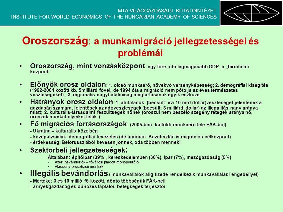"""MTA VILÁGGAZDASÁGI KUTATÓINTÉZET INSTITUTE FOR WORLD ECONOMICS OF THE HUNGARIAN ACADEMY OF SCIENCES Oroszország : a munkamigráció jellegzetességei és problémái •Oroszország, mint vonzásközpont : egy főre jutó legmagasabb GDP, a """"birodalmi központ •Előnyök orosz oldalon : 1."""