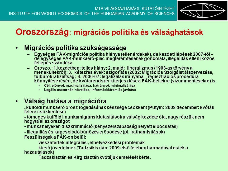MTA VILÁGGAZDASÁGI KUTATÓINTÉZET INSTITUTE FOR WORLD ECONOMICS OF THE HUNGARIAN ACADEMY OF SCIENCES Oroszország : migrációs politika és válsághatások •Migrációs politika szükségessége –Egységes FÁK-migrációs politika hiánya (ellenérdekek), de kezdeti lépések 2007-től – de egységes FÁK-munkaerő-piac megteremtésének gondolata, illegalitás elleni közös fellépés szándéka –Oroszo.: 1.kezdetben: teljes hiány; 2.