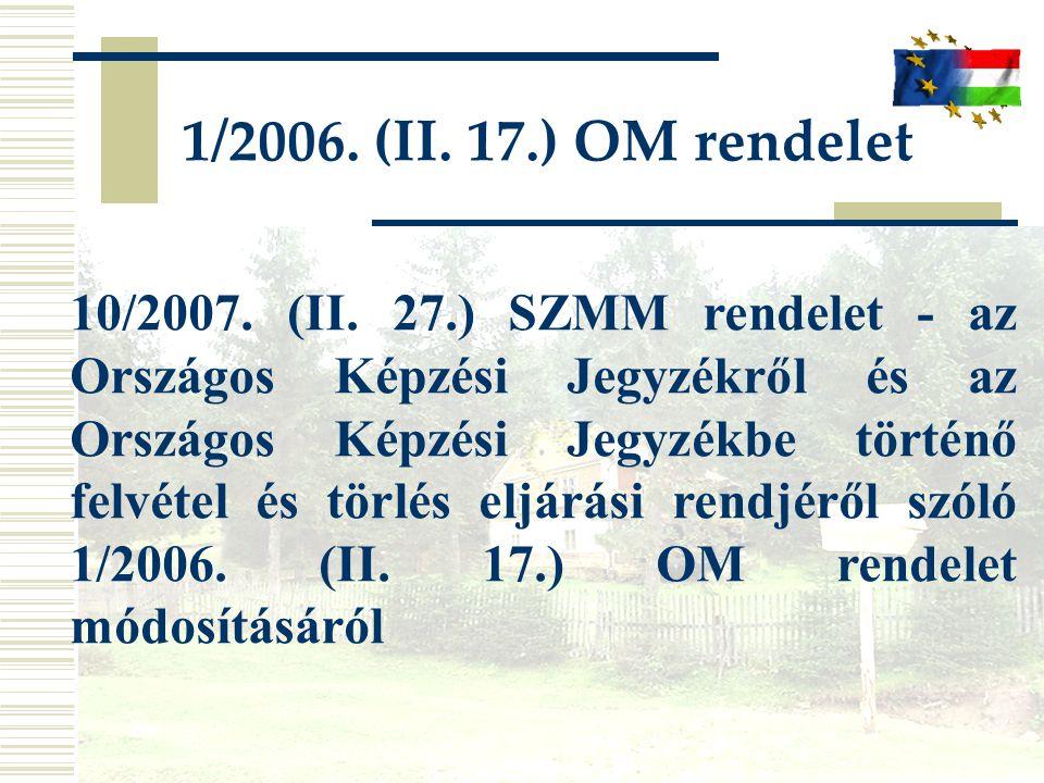 10/2007. (II. 27.) SZMM rendelet - az Országos Képzési Jegyzékről és az Országos Képzési Jegyzékbe történő felvétel és törlés eljárási rendjéről szóló